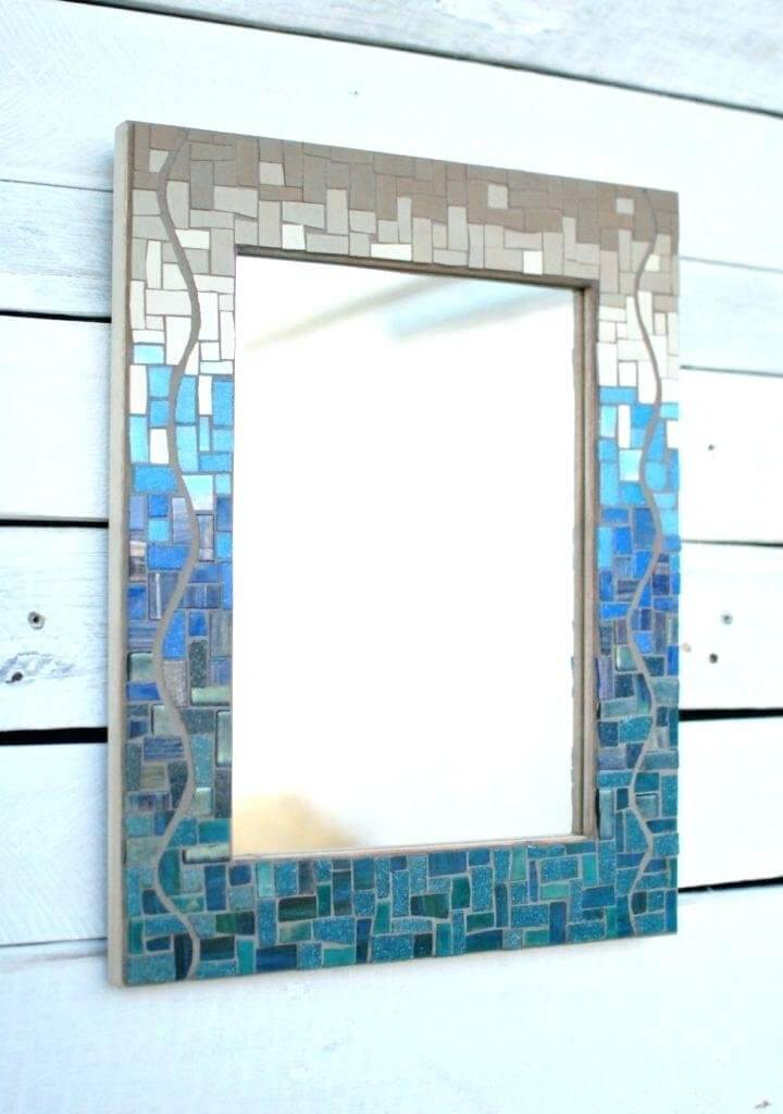 Blue and Grey Bathroom Mirror Idea