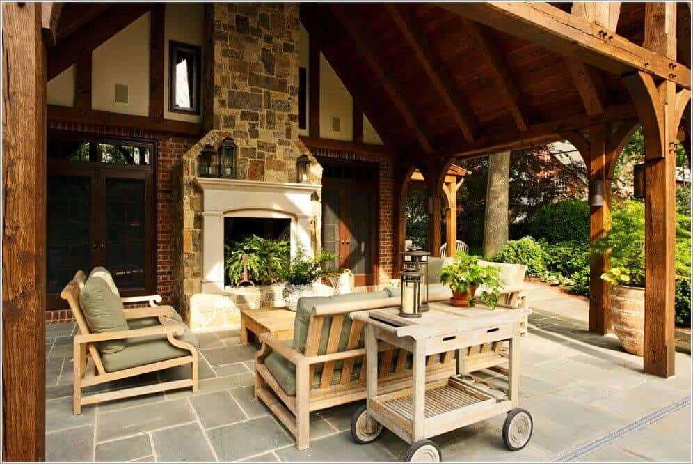 Brick Footed, Wooden Cover patio