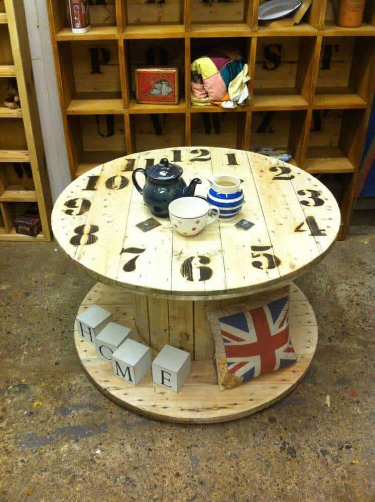 Cable Drum End Clock Table