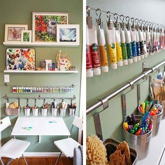 Curtain rail on the wall with hooks for kids room