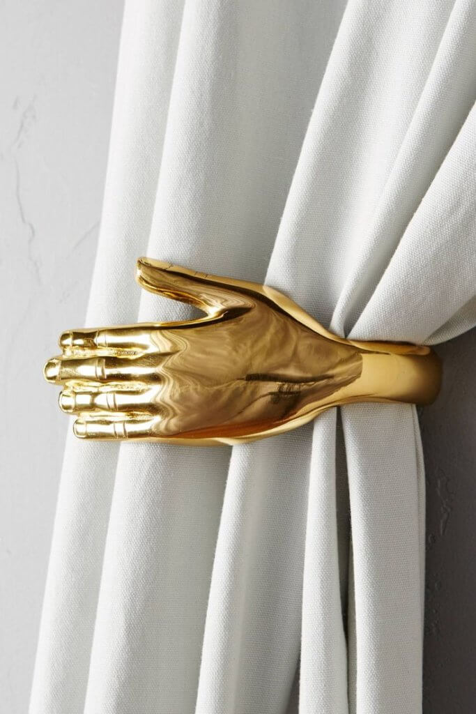 Curtain tie backs in gold