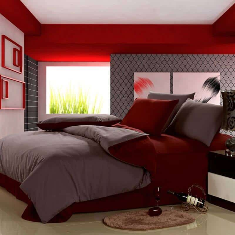 Firey Red and Grey bedroom