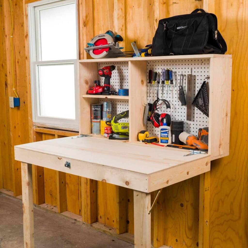 Fold down bench including room for tools