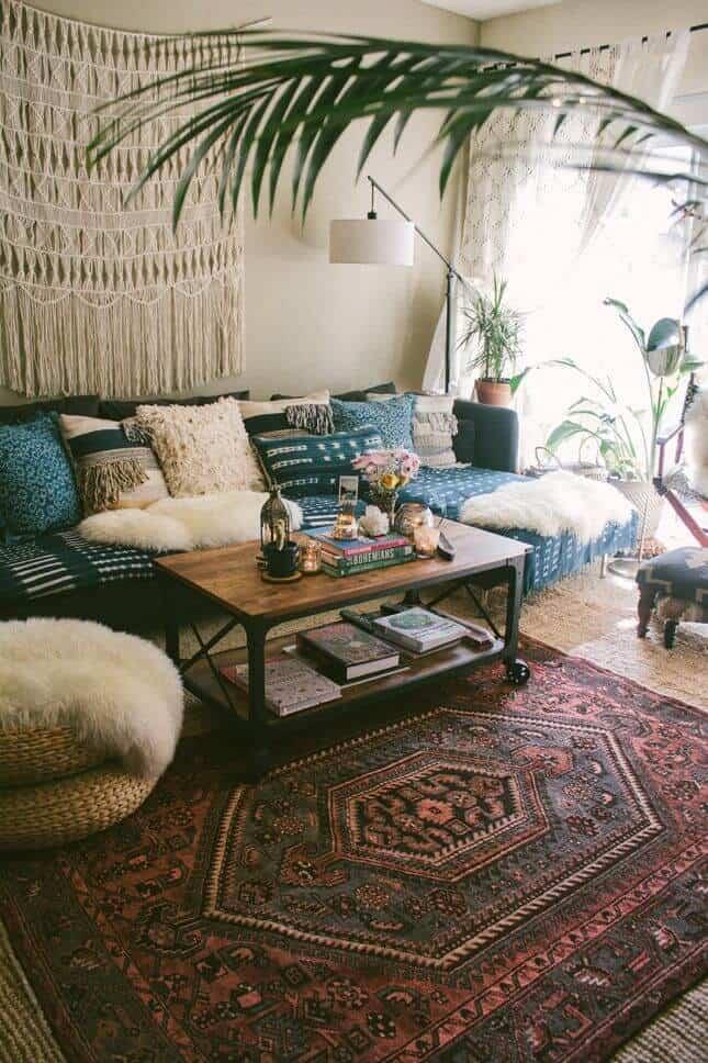 Fur bohemian living room