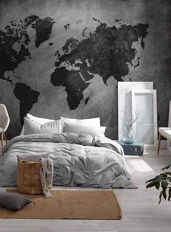 Grey Border Paper bedroom