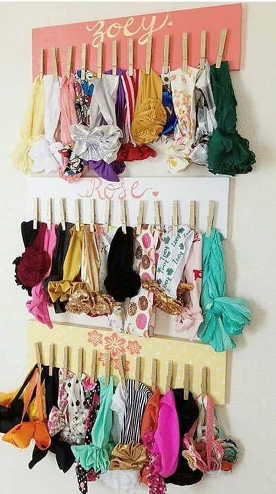 Hanging headband holder kids room