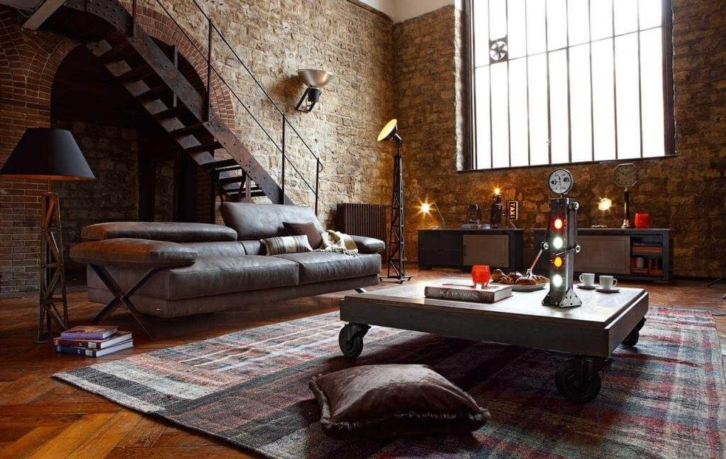 Industrial Walls living room ideas
