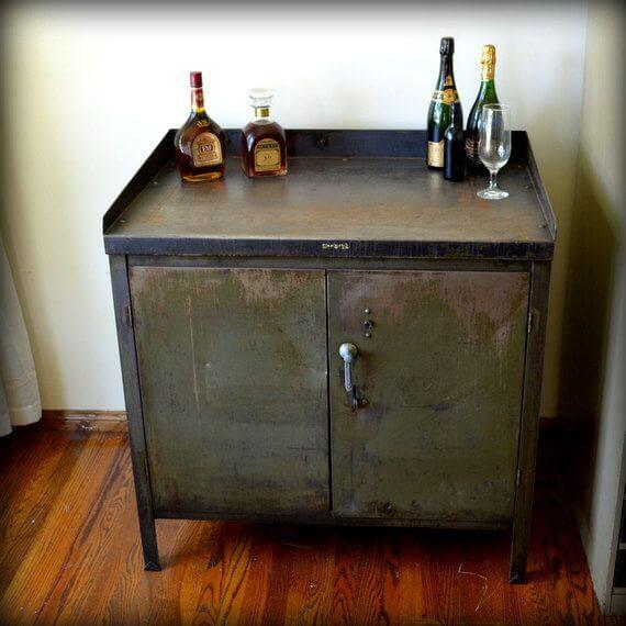Industrial metal cabinet living room