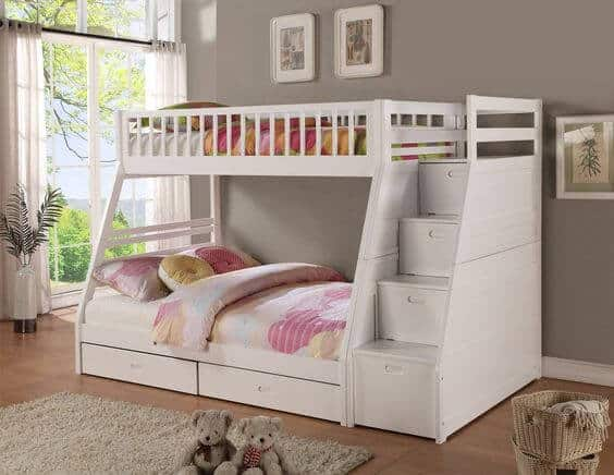 Kids Bed with Drawers in the staircase