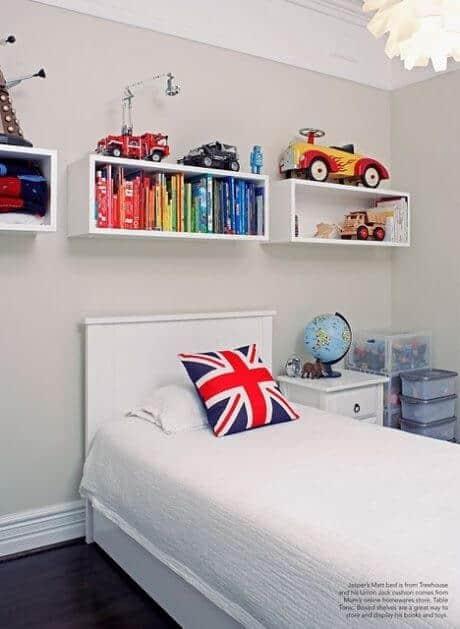 Kids Room Organization Above bed shelves