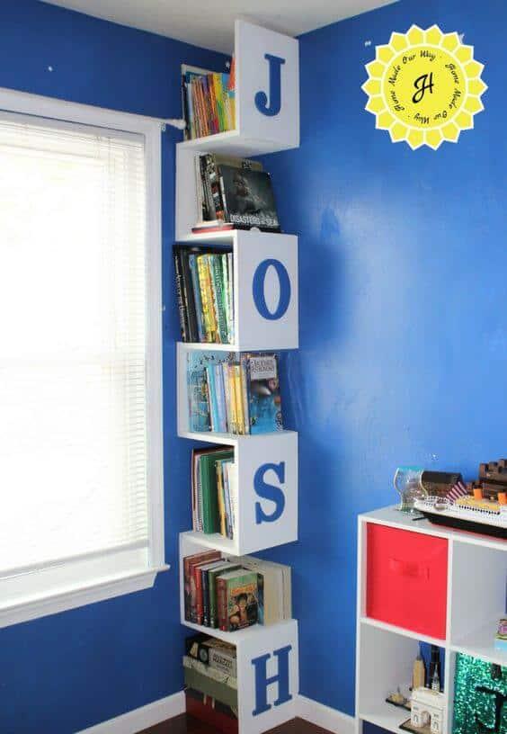 Kids Room Organization Corner shelves