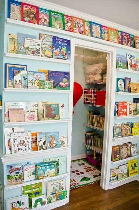 Kids Room Organization Full wall shelves
