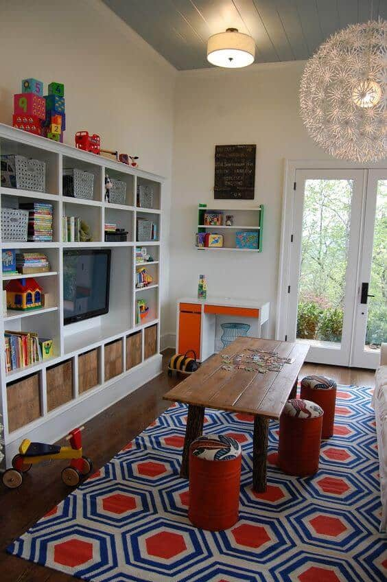 Kids Room Organization Tv unit shelves