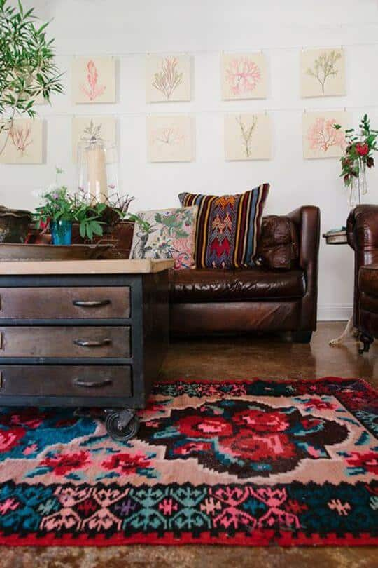 Leather bohemian living room