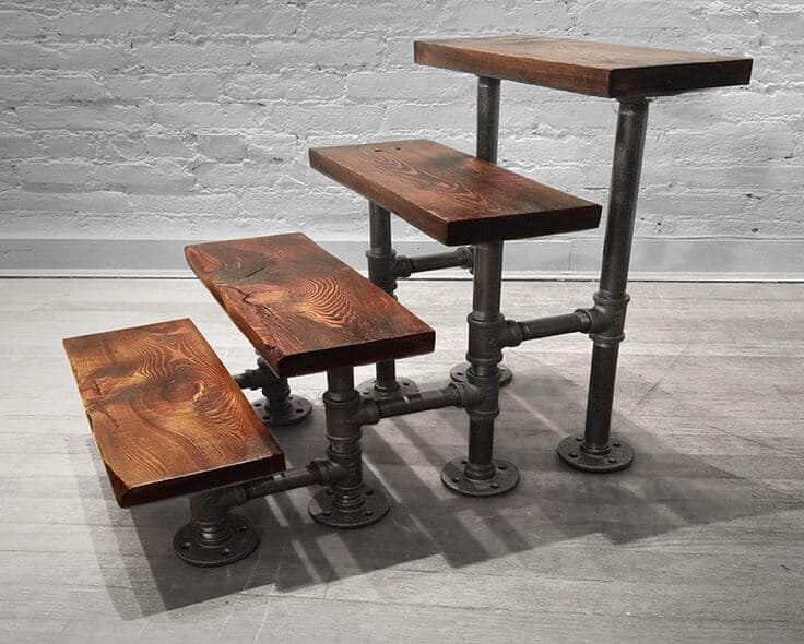 Metal pipe and Wooden Furniture Designs