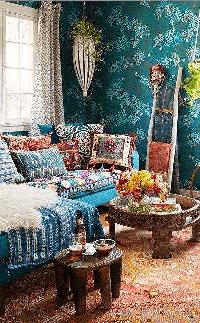 Patterns bohemian living room
