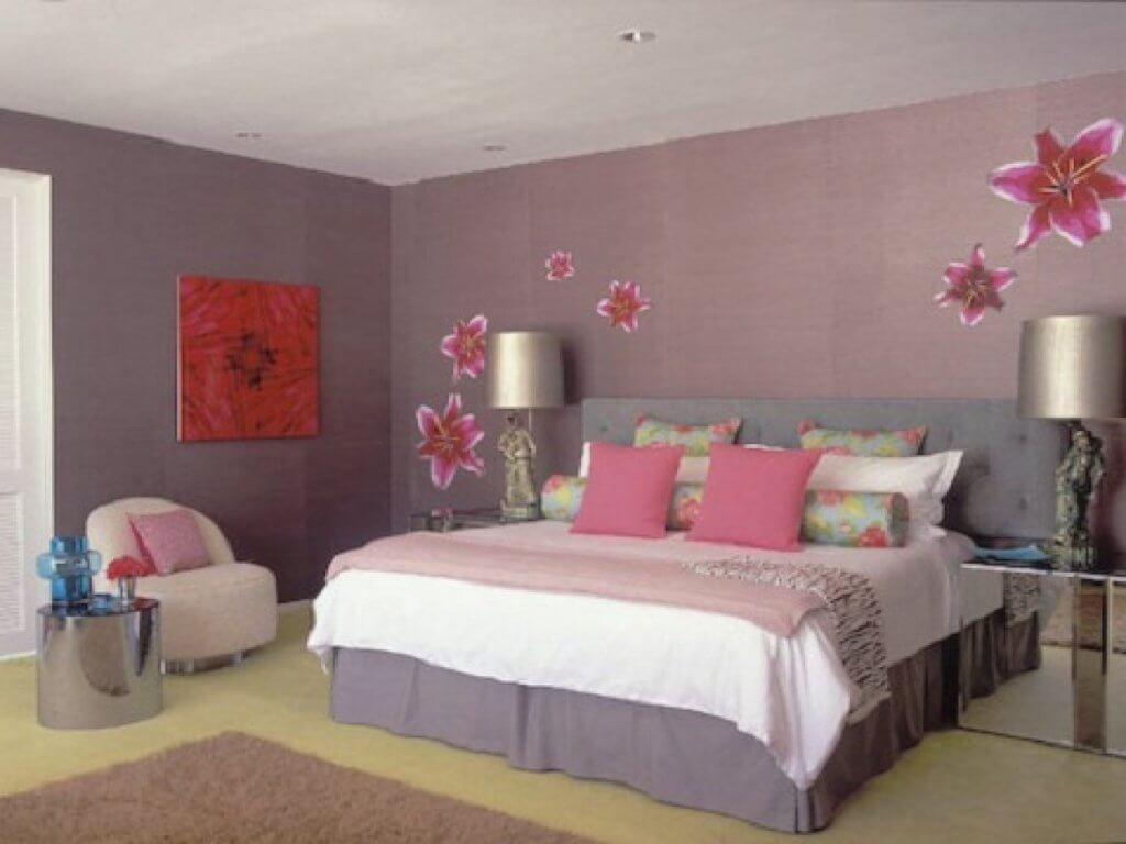 Pink and grey bedroom