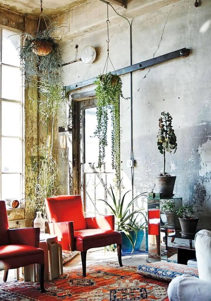 Plants bohemian living room