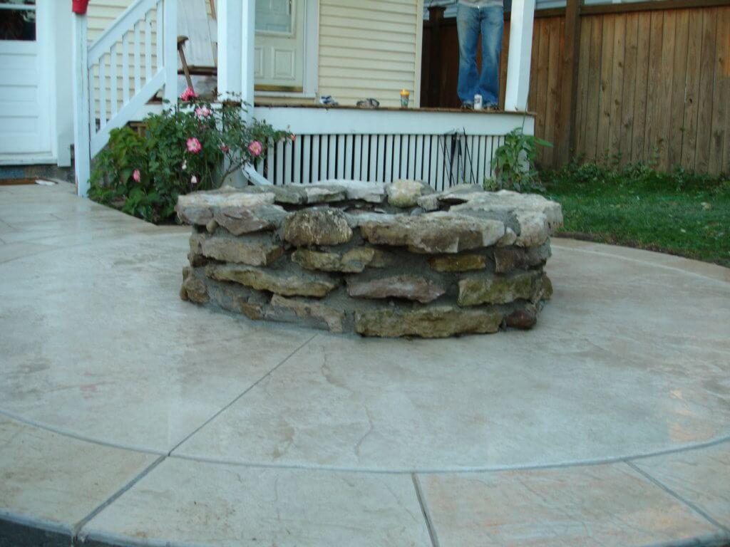 Poured concrete for patio