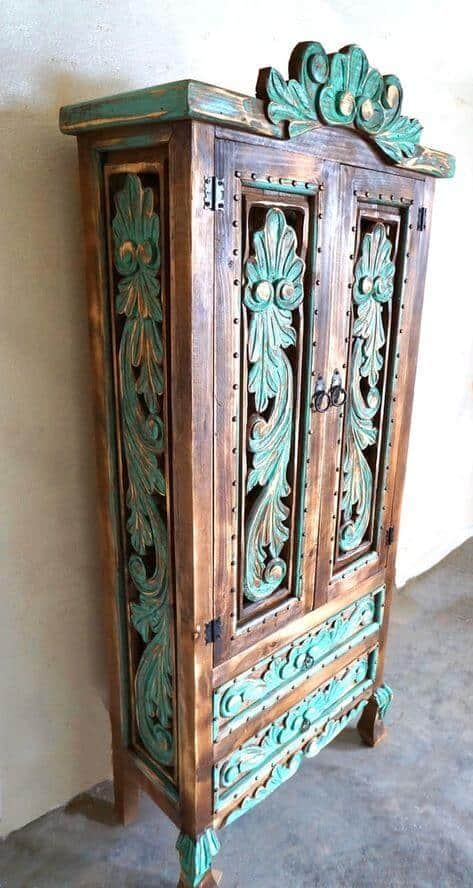 Refurbished colorful handcrafted cabinet