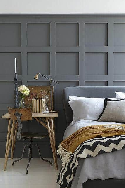 Squares grey wall pattern for bedroom