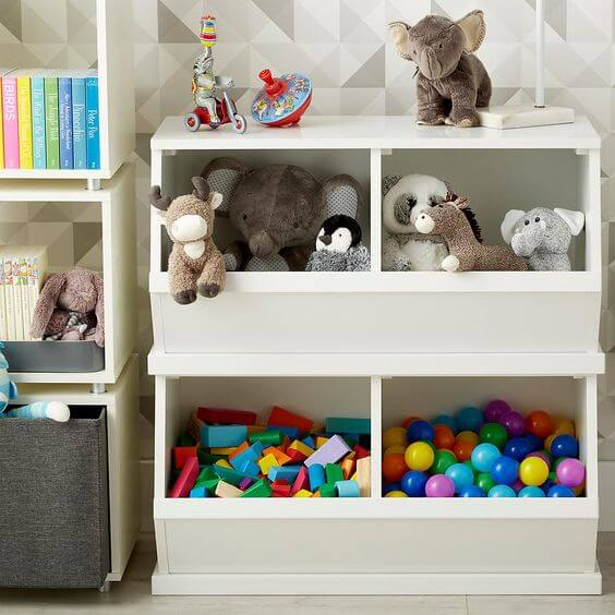 Stackable storage for kids room