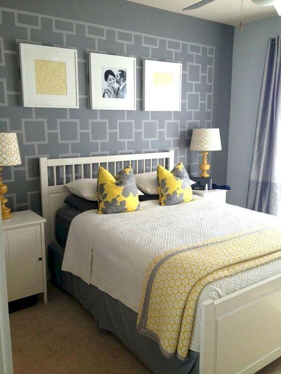 Sunshine Yellow and grey bedroom