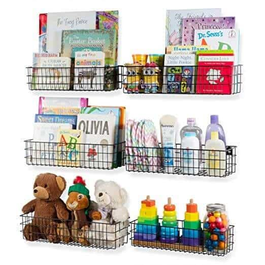 Wall mounted baskets for kids room