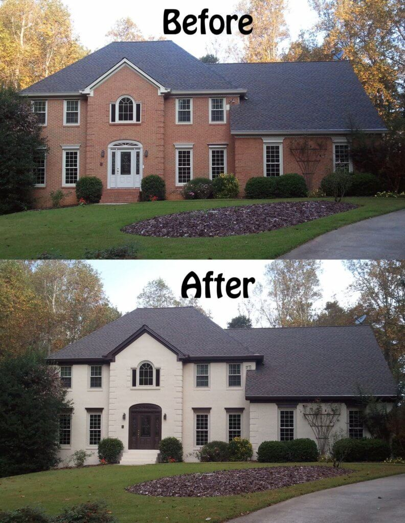 White Red Brick Homes Paint