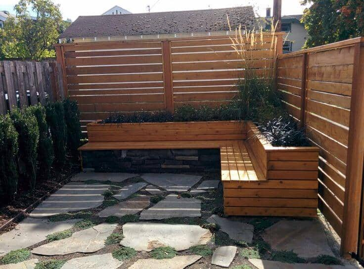 Wooden topped wall seats for patio