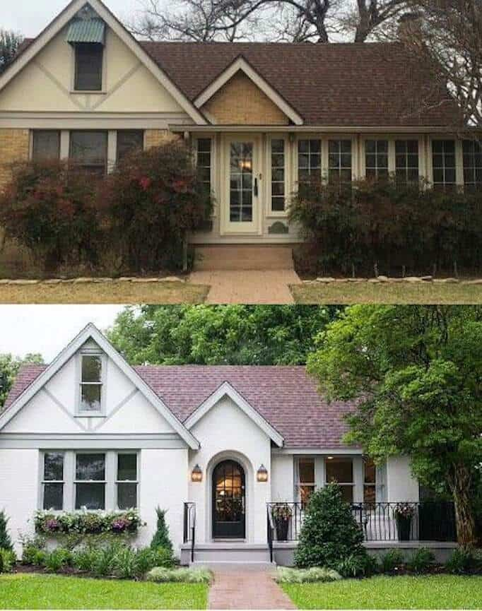 before and after exterior painted houses