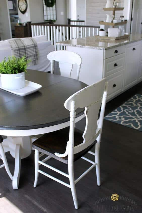black and white chalk paint table