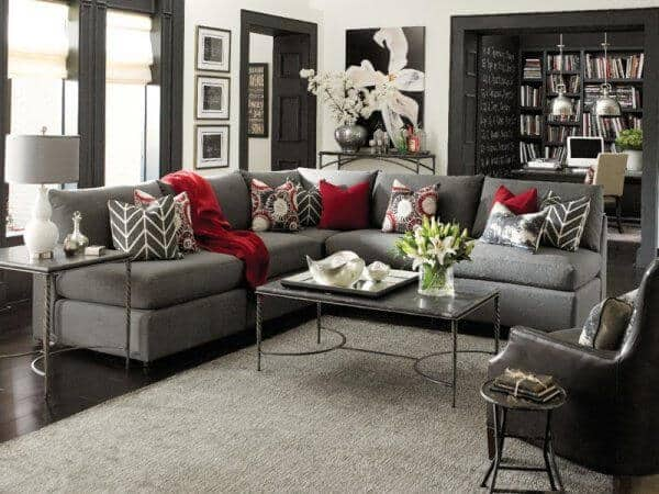 deep red and grey living room ideas