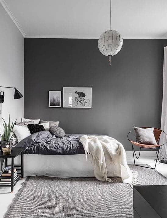 grey feature walls bedroom