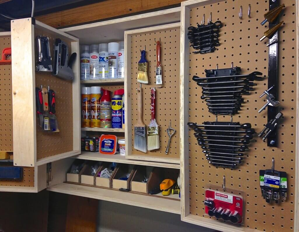 pegboard cabinet storage ideas