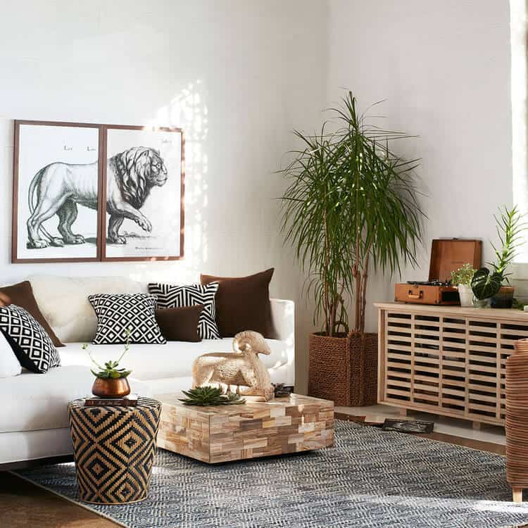 white walls and furniture with wooden accents minimalist decor