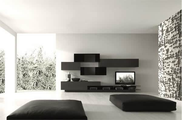 white walls woth black accent minimalist room