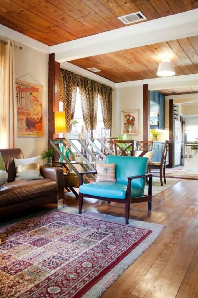 wooden bohemian living room