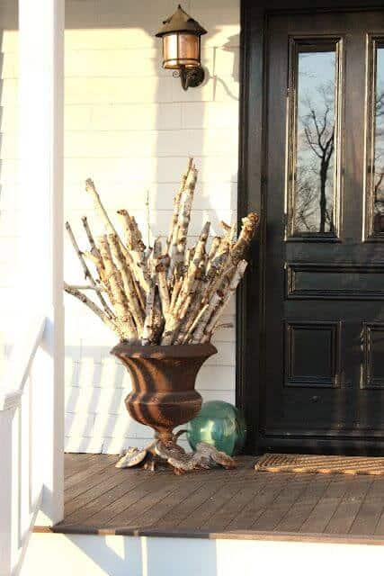 front porch pot for birch logs
