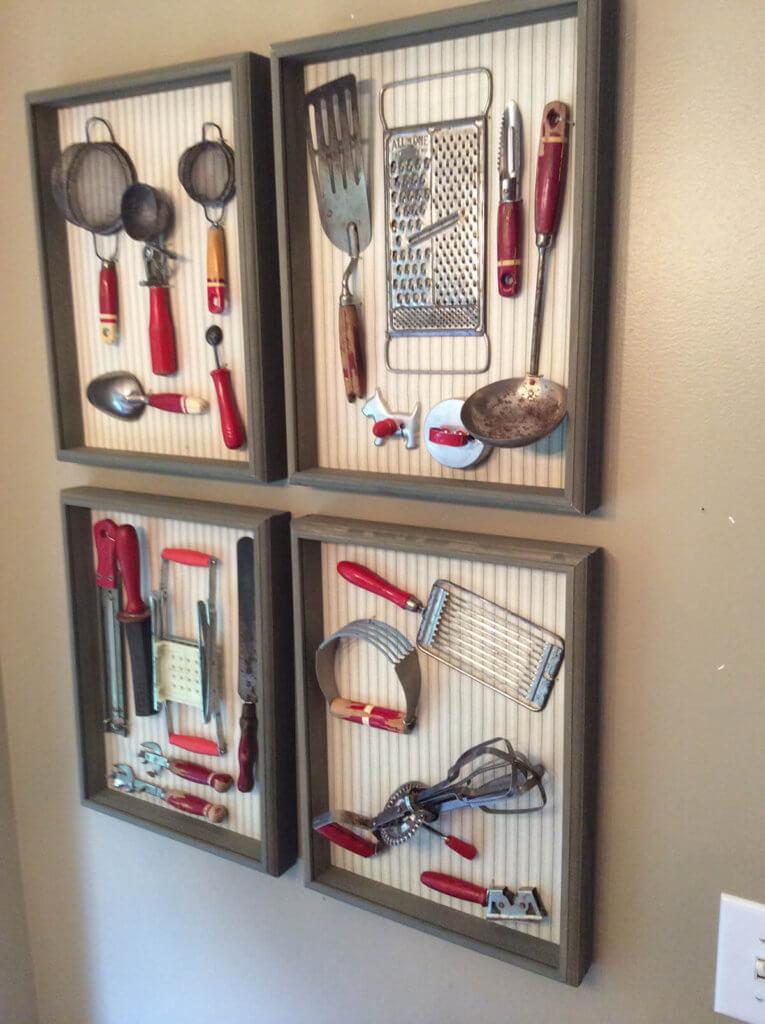 Antique Framed Kitchen Utensils Idea