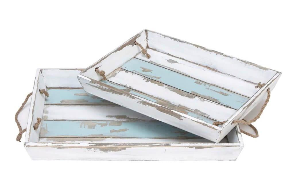 Blue wooden serving tray nautical design ideas