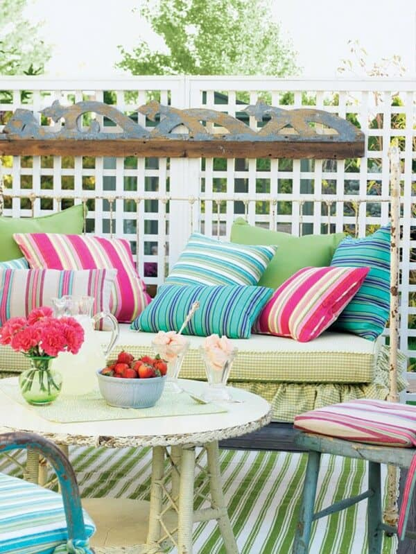Colored Cushions for porch decoration
