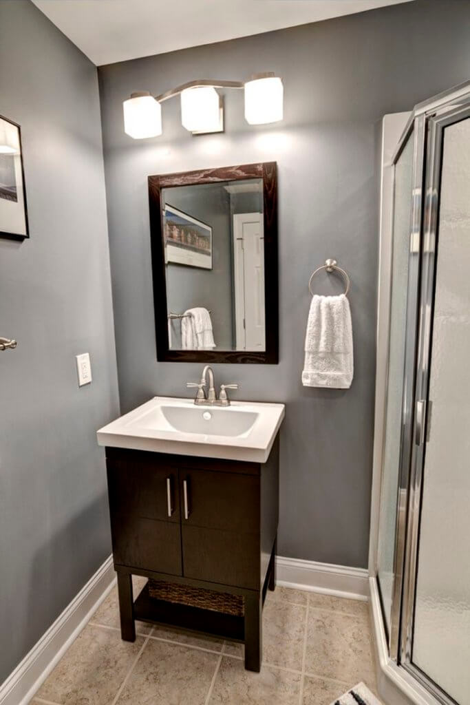 Downlighting basement bathroom