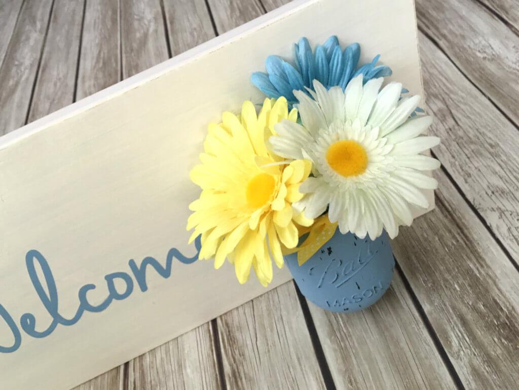 Mason Jar Vase Welcome Sign