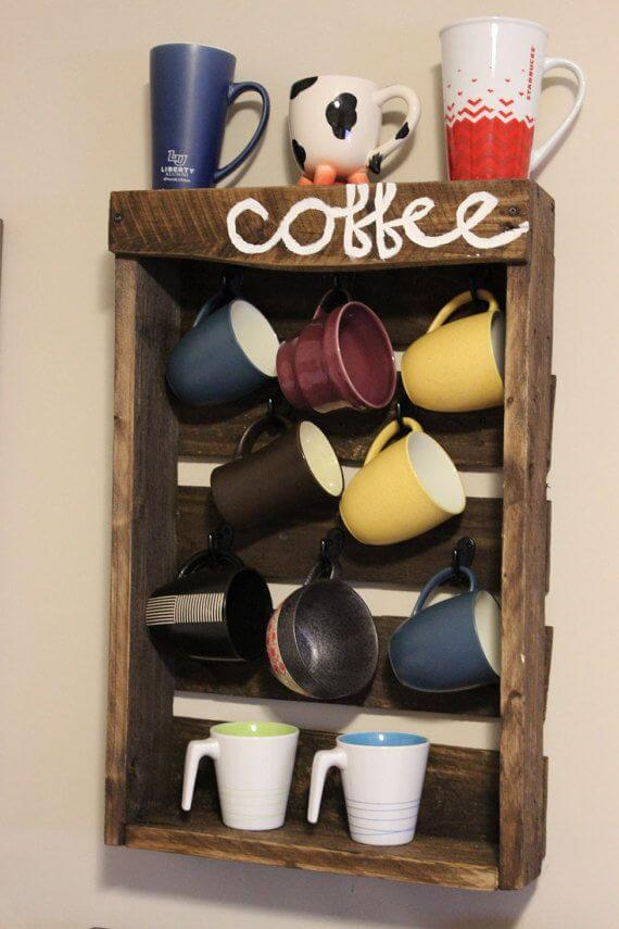 Painted Pallet Cup Holder Ideas with hooks