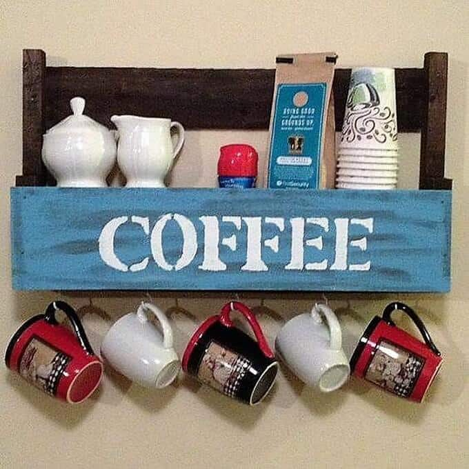 Pallet Cup Holder for kitchen decor with shelves