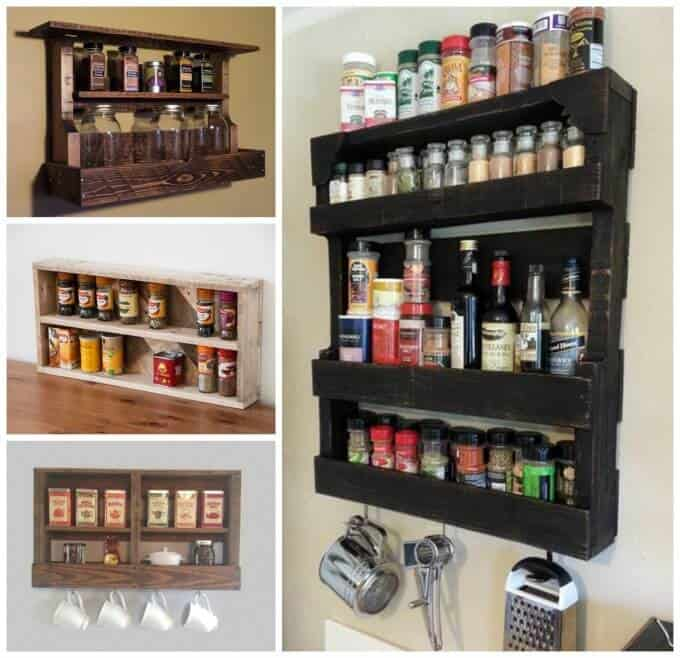 Pallet Spice Rack for kitchen decor ideas