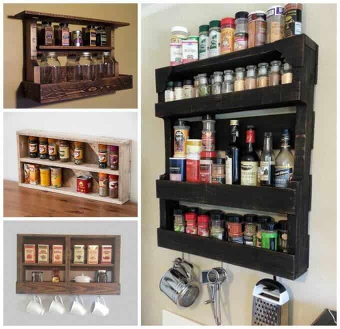 Pallet Spice Rack for kitchen decor ideas