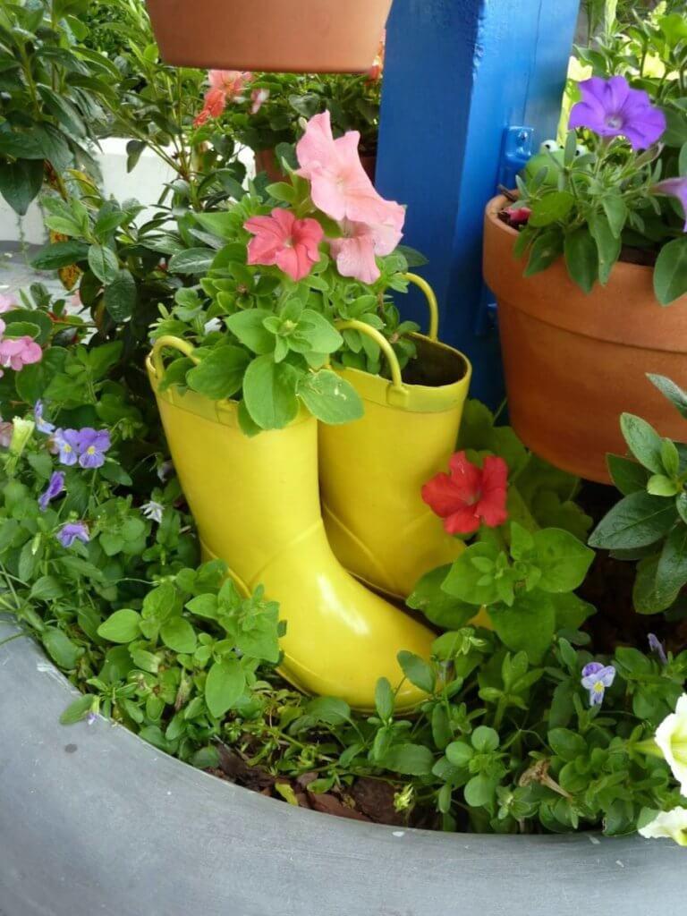 Rain Boot Planters Decor Idea
