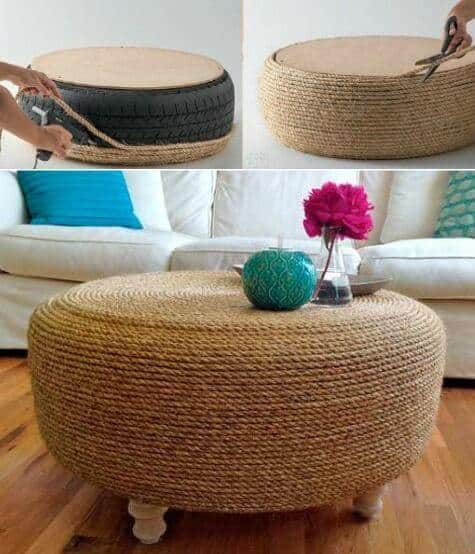Rope edged ottoman nautical design